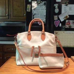 D&B Dillen White Leather Satchel & Cosmetic Bag